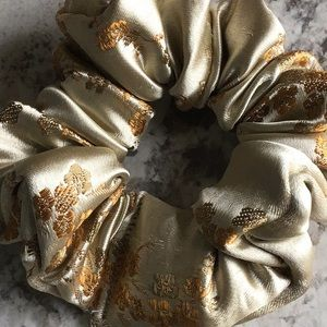 Gold satin embroidered Asian inspired scrunchie